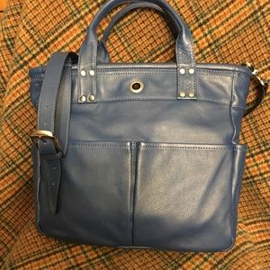 Levenger Blue Leather Tote